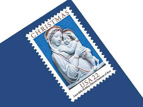 Pack of 25 Unused Christmas Madonna and Child Postage Stamps - 22c - 1985