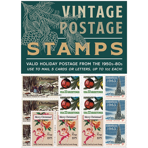 WHOLESALE Vintage Holiday Postage Stamps 2018 - Green Pack