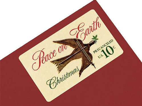 Pack of 25 Unused Christmas Peace on Earth Stamps - 10c - Unique vintage postage