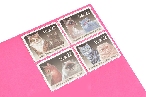 22¢ Cats - 25 Stamps