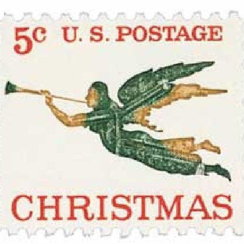 Pack of 25 Unused Christmas Angel Postage Stamps - 5c - Vintage from 1965