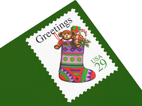 Pack of 25 Unused Christmas Stocking Postage Stamps - 29c - 1994 - Unused