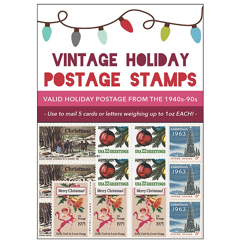 Vintage Holiday Postage Stamps 2018 - Red Pack