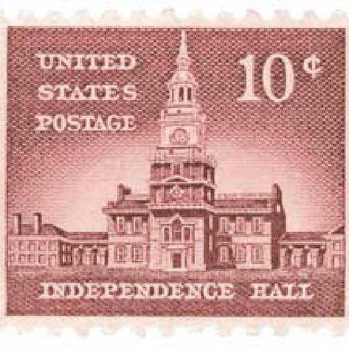 25 Independence Hall Stamps - 10c - Vintage 1956 - Unused Postage