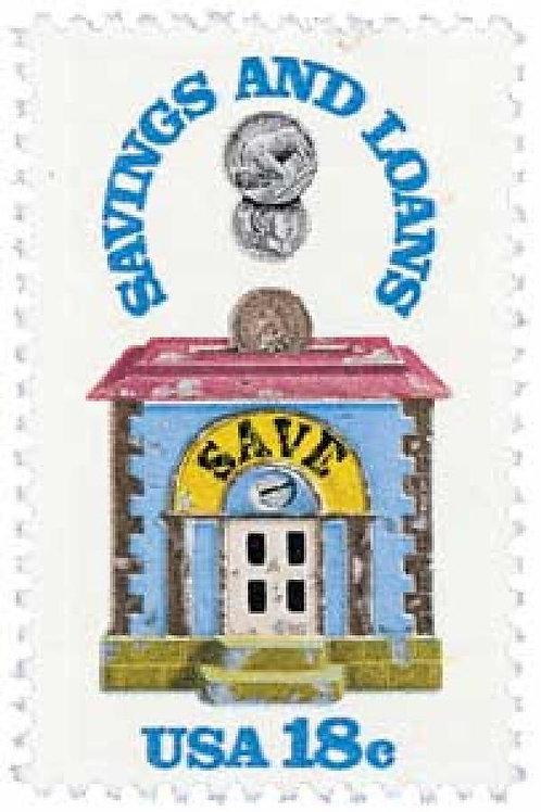 Pack of 25 Unused Savings and Loan Stamps - 18c - 1981 - Unused Vintage Postage