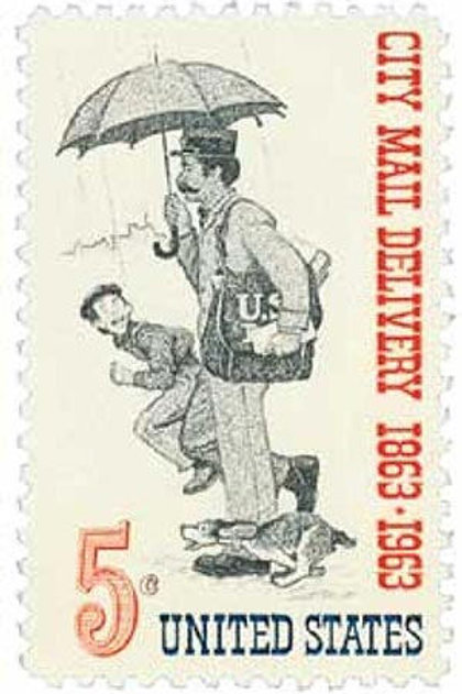 Pack of 25 Unused City Mail Delivery - 5c - 1963 - Unused Vintage Postage