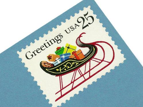 25¢ Christmas Sleigh - 25 Stamps