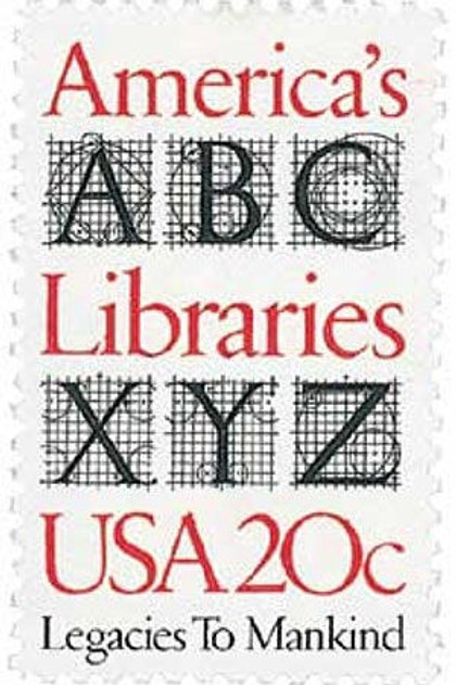 Pack of 25 Unused America's Libraries Stamps - 20c - Vintage Postage - 1982