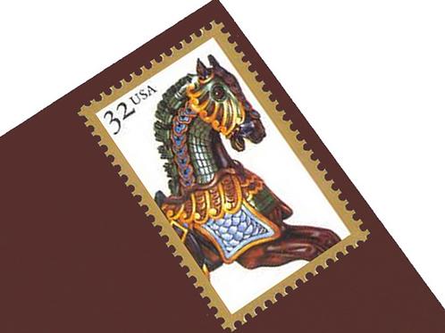Pack of 20 Unused Stamps Carousel Horses- 32c - 1995 - Unused - Quantity of 20