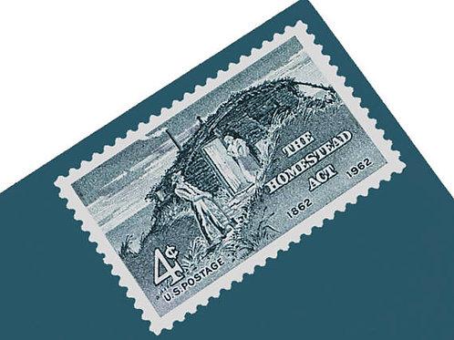 Pack of 25 Unused Homestead Act Stamps - 4c - 1962 - Unused Vintage Postage - Qu