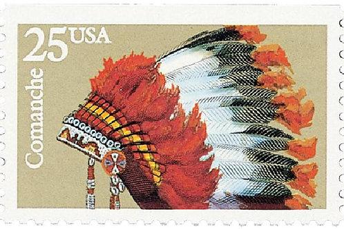 Pack of 20 Unused Comanche Headdress Stamps - 25c - 1990 - Vintage Postage
