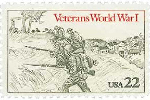 Pack of 25 Unused World War I Veterans Postage Stamps - 22c - Vintage 1985