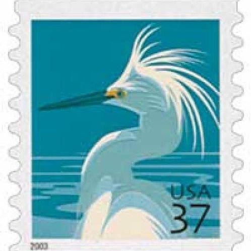 20 Snowy Egret Postage Stamps - 37c - 2003 - Unused - Quantity of 20