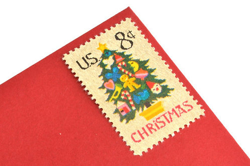 Pack of 25 Unused Christmas Tree Needlepoint Postage Stamps - 8c - 1973