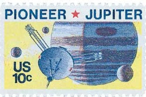25 Pioneer Jupiter Stamps - 10c - Unique vintage postage stamps - 1975