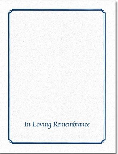 In Loving Remembrance Blue Memorial Folder - Personalized*