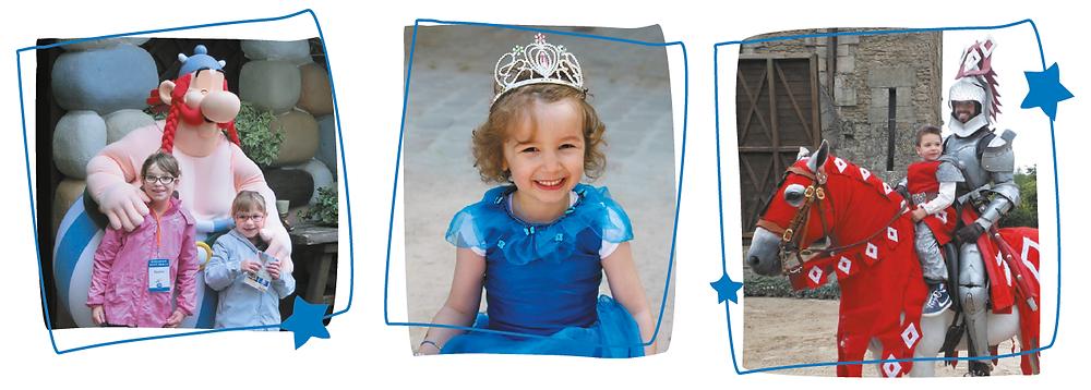 Enfants avec Obélix, en princesse et en chevalier