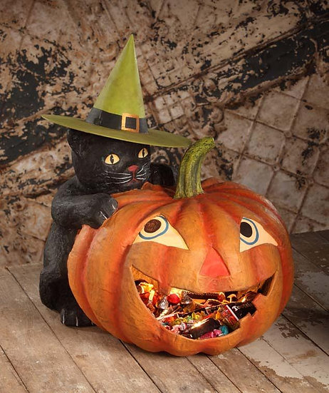 Pumpkin with Black Cat Container by Bethany Lowe Designs