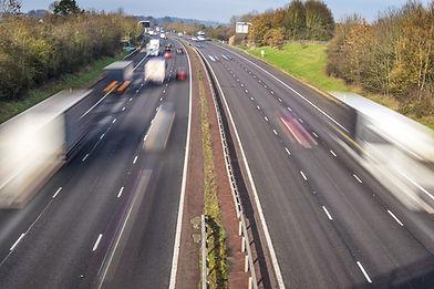 Speeding traffic on an English motorway