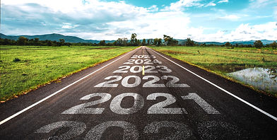 2020-2025 written on highway road in the