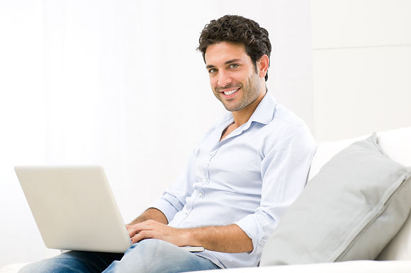 Man with Laptop visiting Client