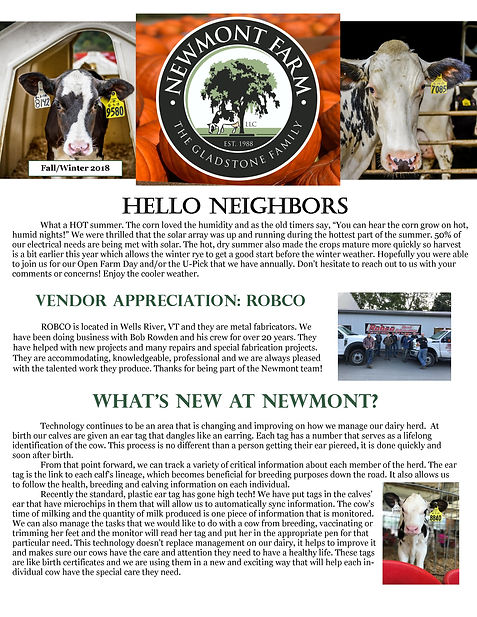 Newmont Fall Winter 2018 Newsletter Fron