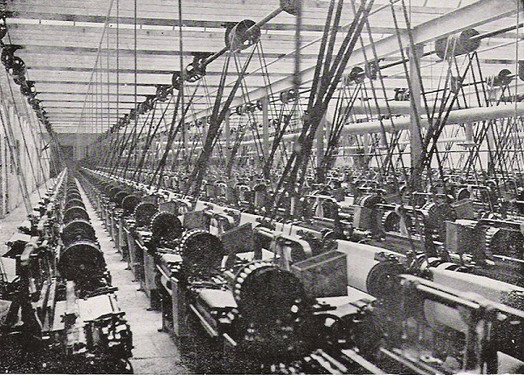 Lancashire cotton mill steam-powered weaving shed