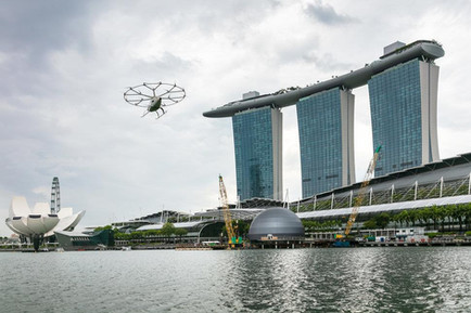 Volocopter flying in Marina Bay Singaport