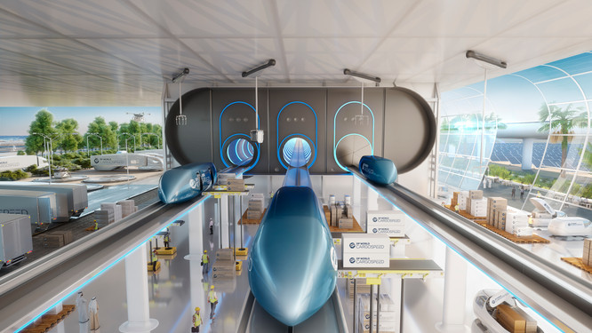 A conceptual rendering of hyperloops deployed for cargo shipping.