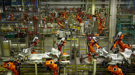 Factory with robots on the shop floor