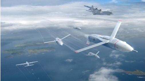 An artist's concept of DARPA's Gremlin swarm drones