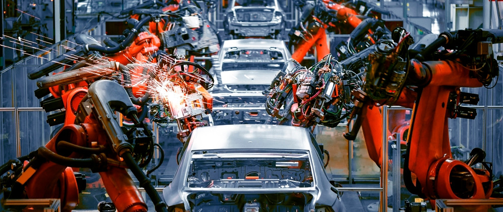 Car skeleton welding robots are an example of automation in modern manufacturing