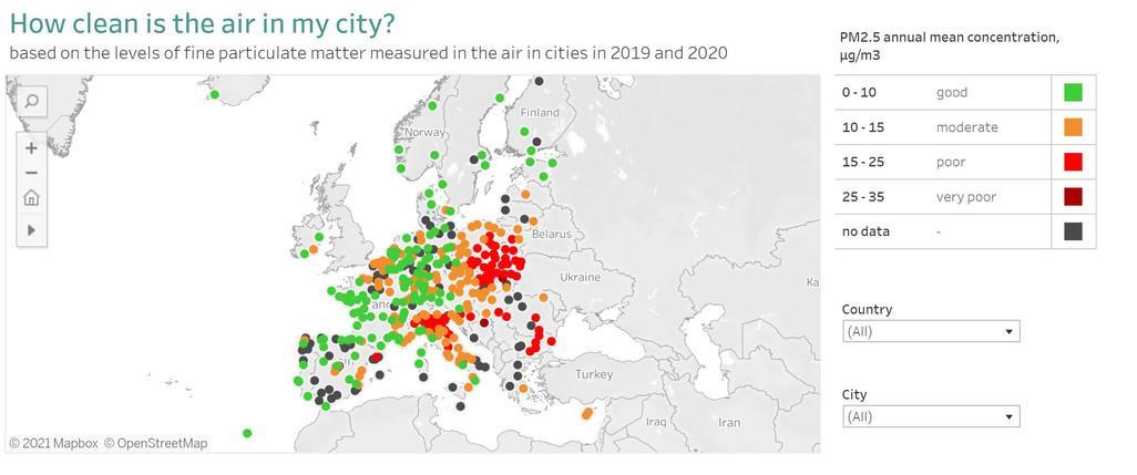 European city air quality viewer