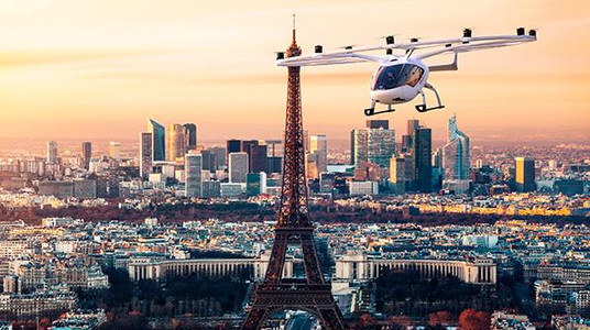 Volocopter flying above Paris