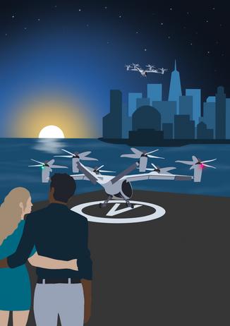 Flight Crowd 'UAM - Explore'. Joby at Sunset