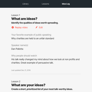 Idea log tab