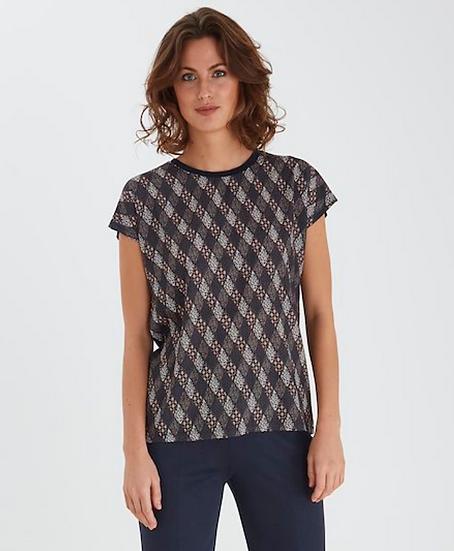 Fransa top with diamond design in navy blazer mix