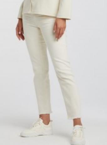 Yaya bone white jeans with frayed hems