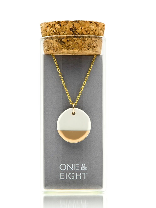 One & Eight gold dipped porcelain adjustable necklace