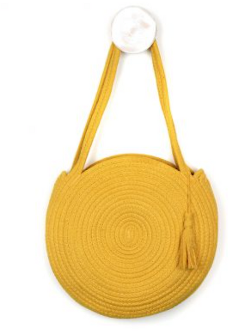 Round shaped weave bag in sunshine yellow