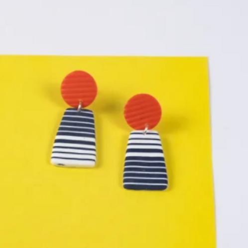 Nadege Honey - Breton red Carnac earrings