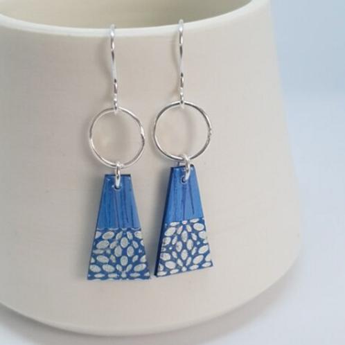 Circle & Dash trapeze earrings all blue