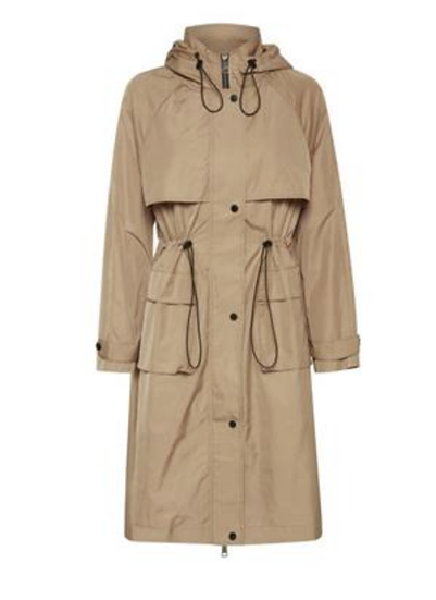 Ichi Emilya coat with hood in natural
