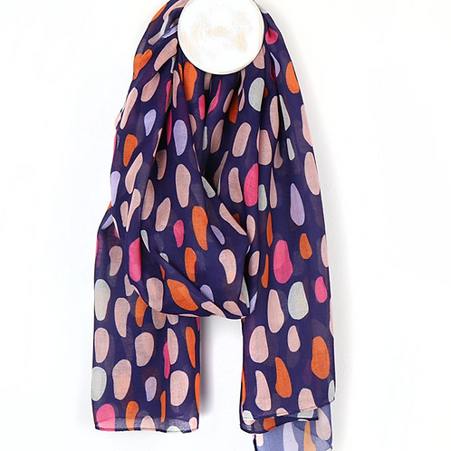 Oval blue with pink mix recycled scarf