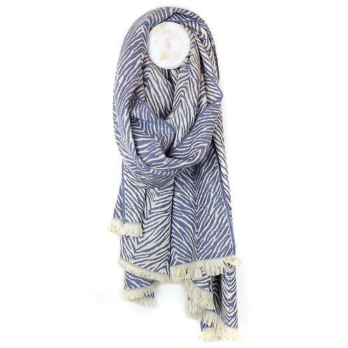 Soft woven scandi style blue zebra scarf