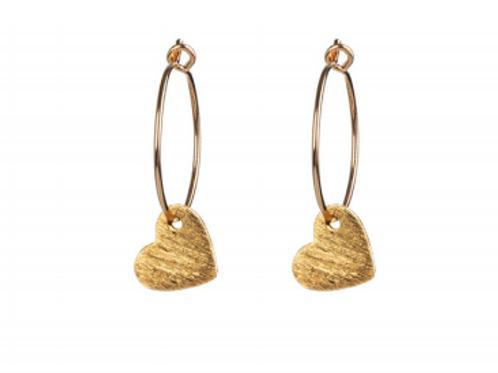 One & Eight gold heart earrings