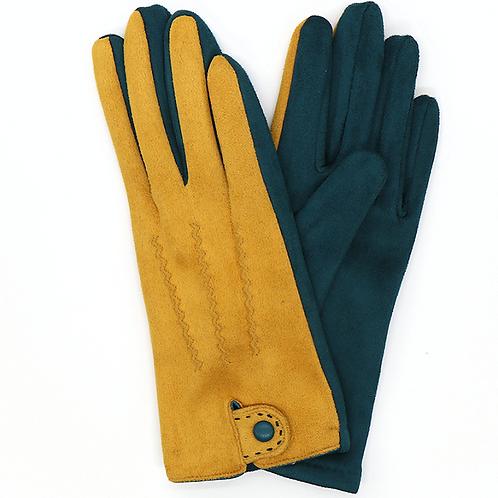 Mustard and dark grey faux suede gloves