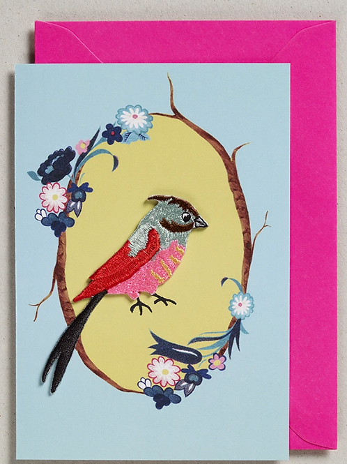 Petra Boase pink and red embroidered patch bird card