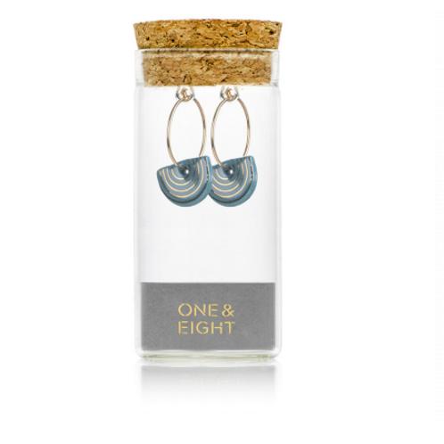 One & Eight porcelain teal Agatha gold earrings