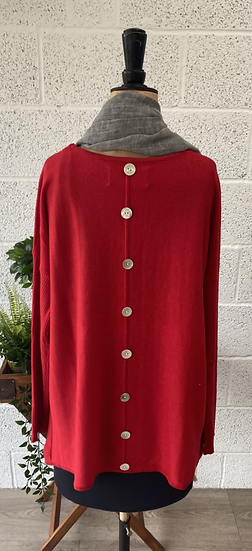 Bright red sweater with buttons down the back